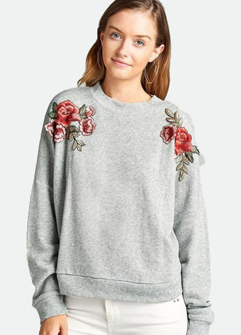 Flower Patch Sweatshirt in Grey