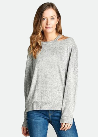 Long Sleeve Cutout Neck Top