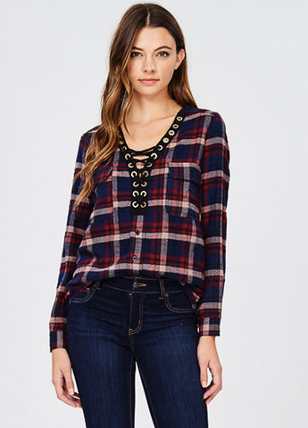 Navy Plaid Lace-Up Top
