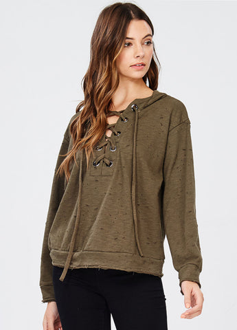 Distressed Lace-up Hoodie