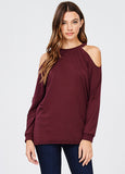 Distressed Cold Shoulder Tunic Sweatshirt in Burgundy