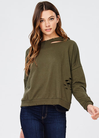 Slash Cut Out Sweatshirt in Olive