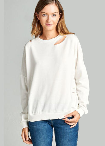 Slash Cut Out Sweatshirt in White