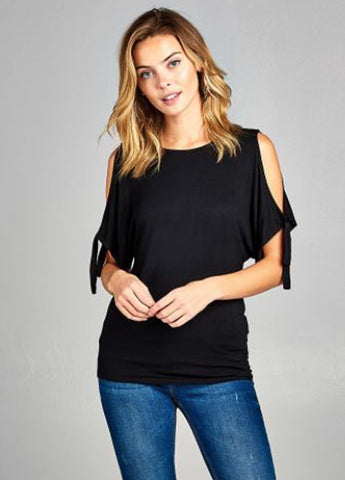 Cold Shoulder Sleeve Tie Top in Black