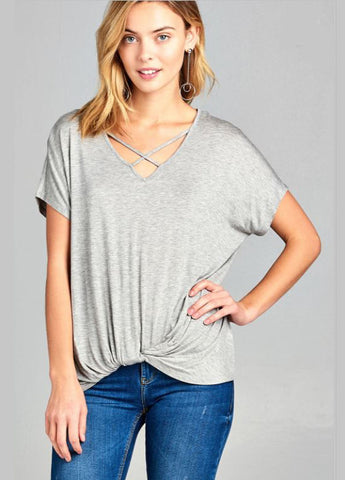 Short Sleeve Dolman Cross Strap V-Neck Tee in Grey