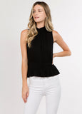 Smocked Sleeveless Top in Black