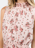 Floral Ruffle Neck Top in Pink