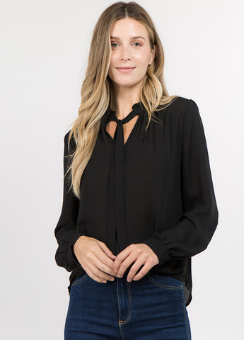 Chiffon V Neck Tie Top in Black
