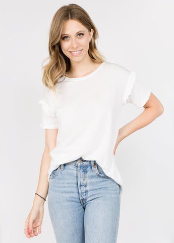 Short Sleeve Ruffle Tee in White