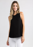 Sleeveless Flowy Muscle Tee in Black