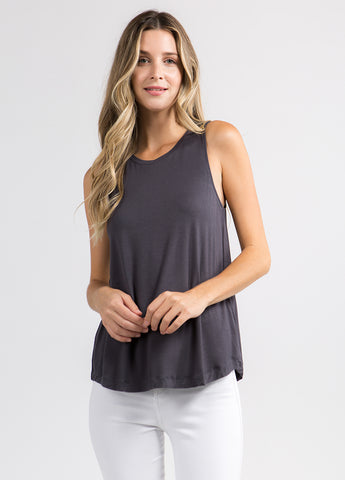 Sleeveless Flowy Muscle Tee in Charcoal
