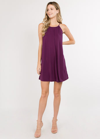 Flowy Halter Dress in Plum