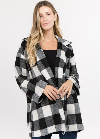 Oversized Plaid Coat in Black and White