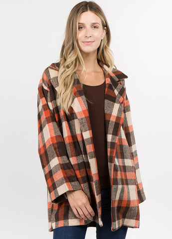 Oversized Plaid Coat in Brown