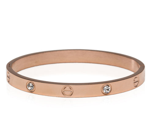 Screw Crystal Bracelet in Rose Gold