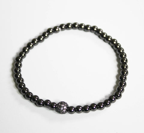 Black Pave Fireball with 4mm Hematite Bead Stretch Bracelet
