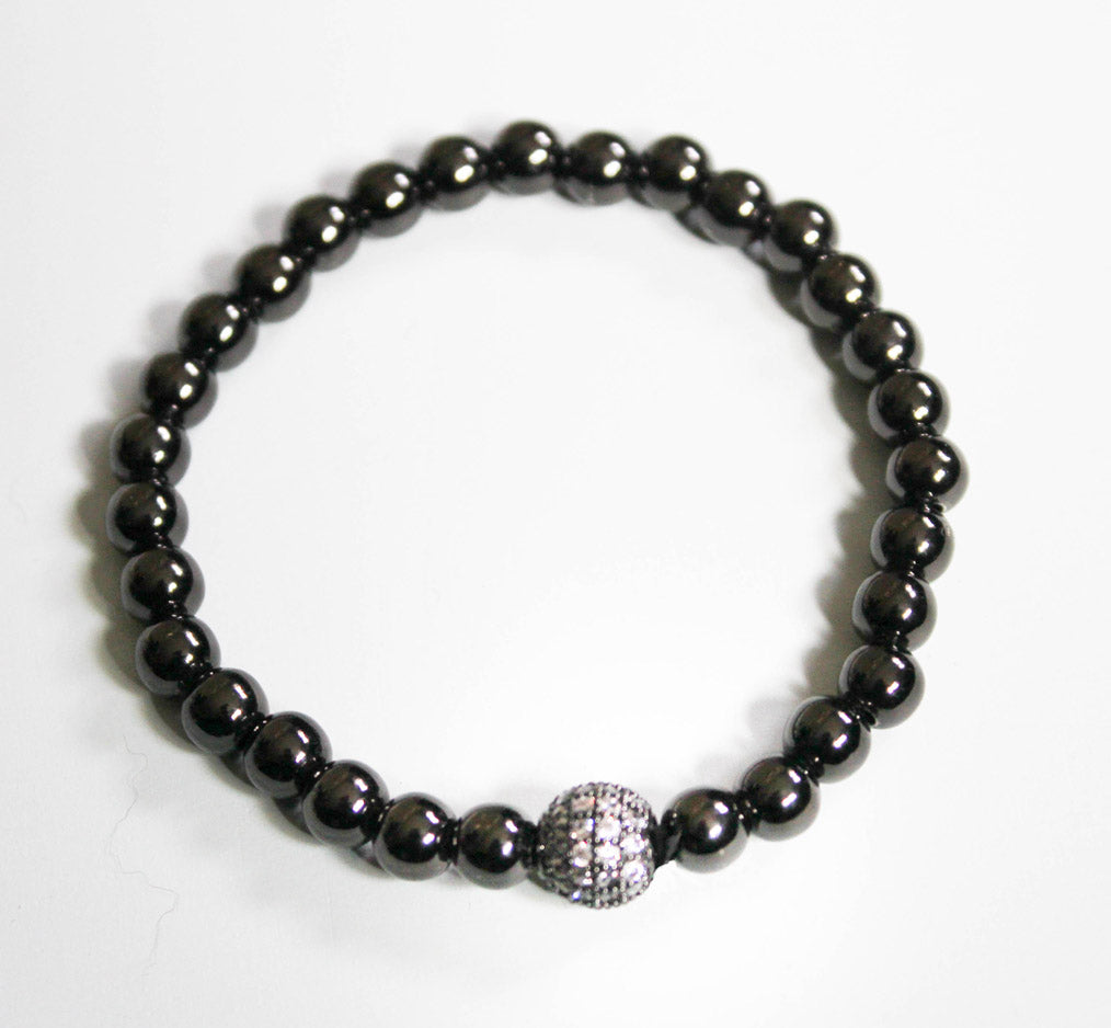Black Pave Fireball with 6mm Hematite Bead Stretch Bracelet