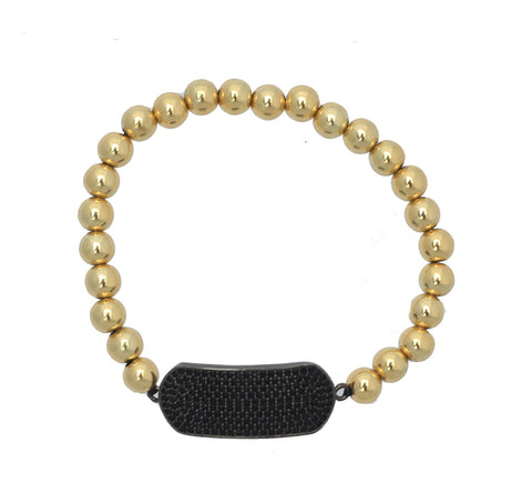Black Pave Dog Tag with 6MM Gold Bead Stretch Bracelet
