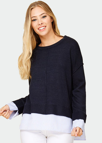 Crew Neck Layered Pullover in Navy