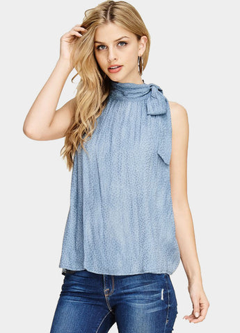 Textured Tie Neck Top