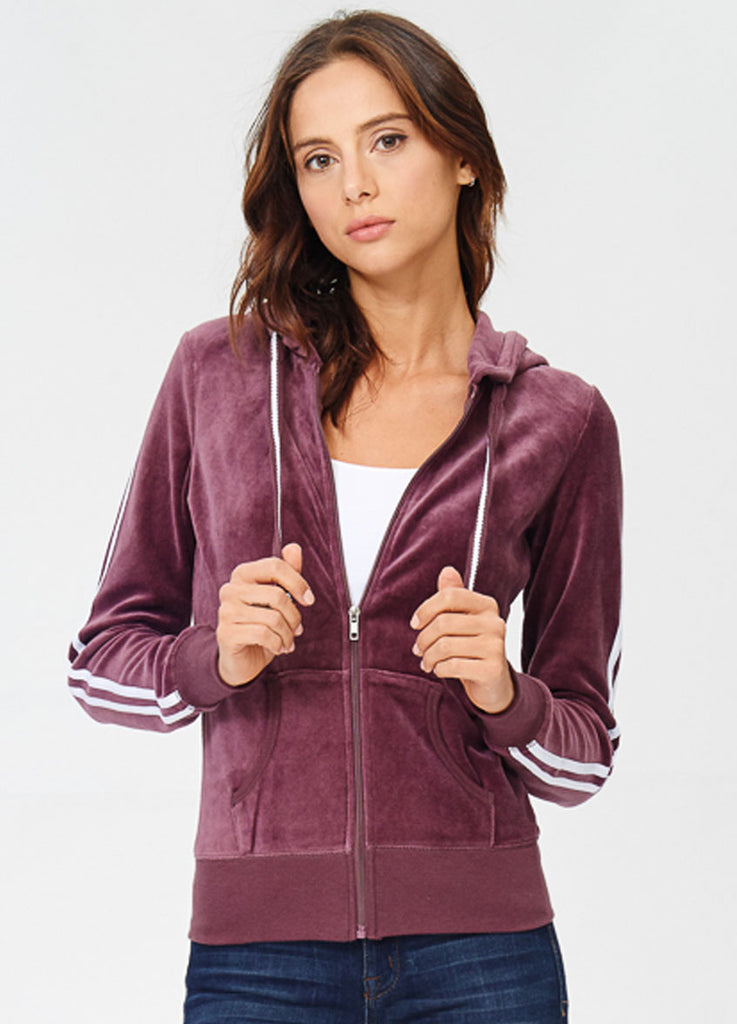 2-Stripe Velour Track Jacket in Berry