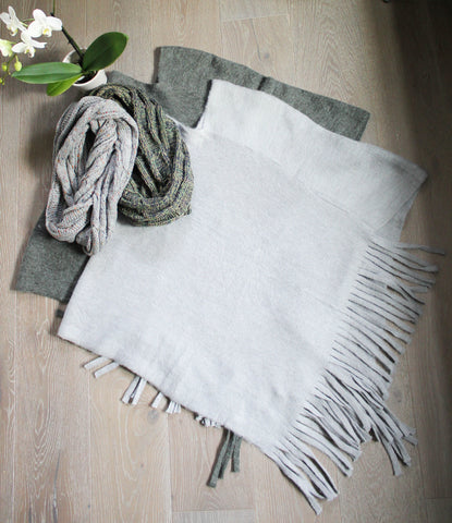 Fringe Poncho in Grey