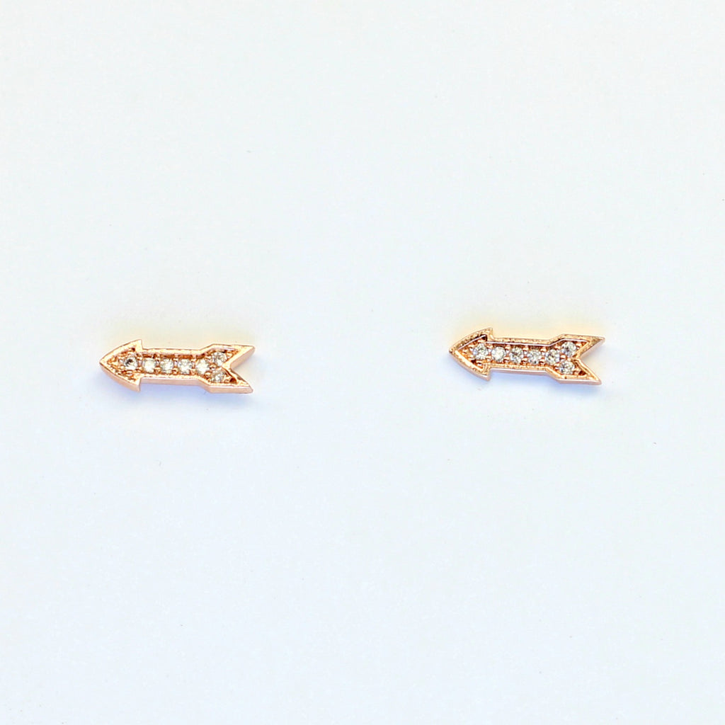 Pave CZ Arrow Studs in Rose Gold