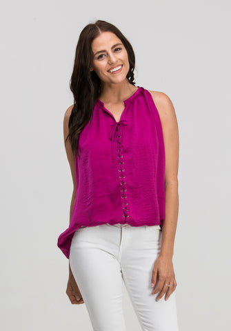 Sleeveless Satin Lace-Up Top in Fuchsia