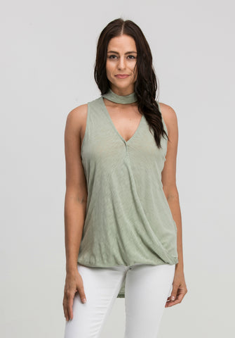 Choker Crossover Front Top in Sage