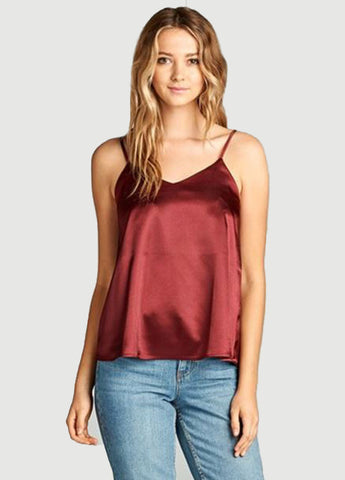 Silk Cami in Burgundy