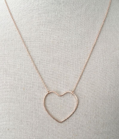 Open Heart Necklace in Rose Gold