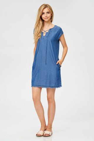 Frayed Hem Lace-Up Dress in Denim