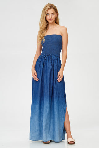 Strapless Ombre Denim Maxi Dress