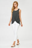 Striped Twist Knot Tank in Black