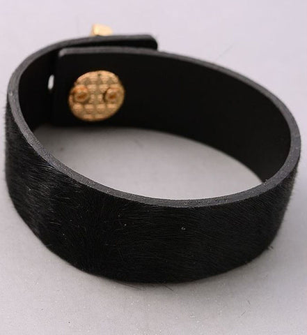 Pony Hair Turnlock Cuff in Black