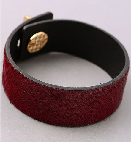 Pony Hair Turnlock Cuff in Wine