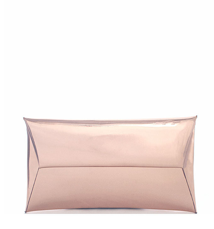 Alessandra Metallic Clutch in Rose Gold