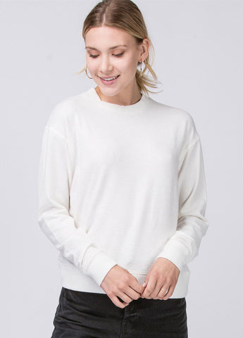 Brushed Hacci Ribbed Sweatshirt in Cream