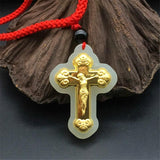Chinese Gold Inlaid and Jade Pendants Catholic Supplies Jesus Cross Pendant Men and Women Pendants Safe -  SEA OF GALILEE CHRISTIAN SHOP