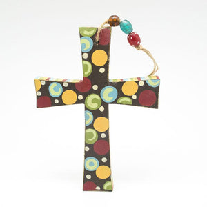 Christian Gifts Wooden Colored Cross Multicolor Dot Pendant Paintings Household Items Crafts Christ Home Decor Holy Figurine -  SEA OF GALILEE CHRISTIAN SHOP