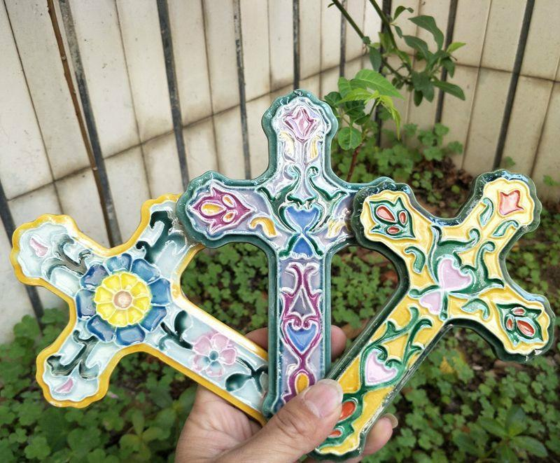 Ceramic Cross  -  Painted Delicately -  SEA OF GALILEE CHRISTIAN SHOP