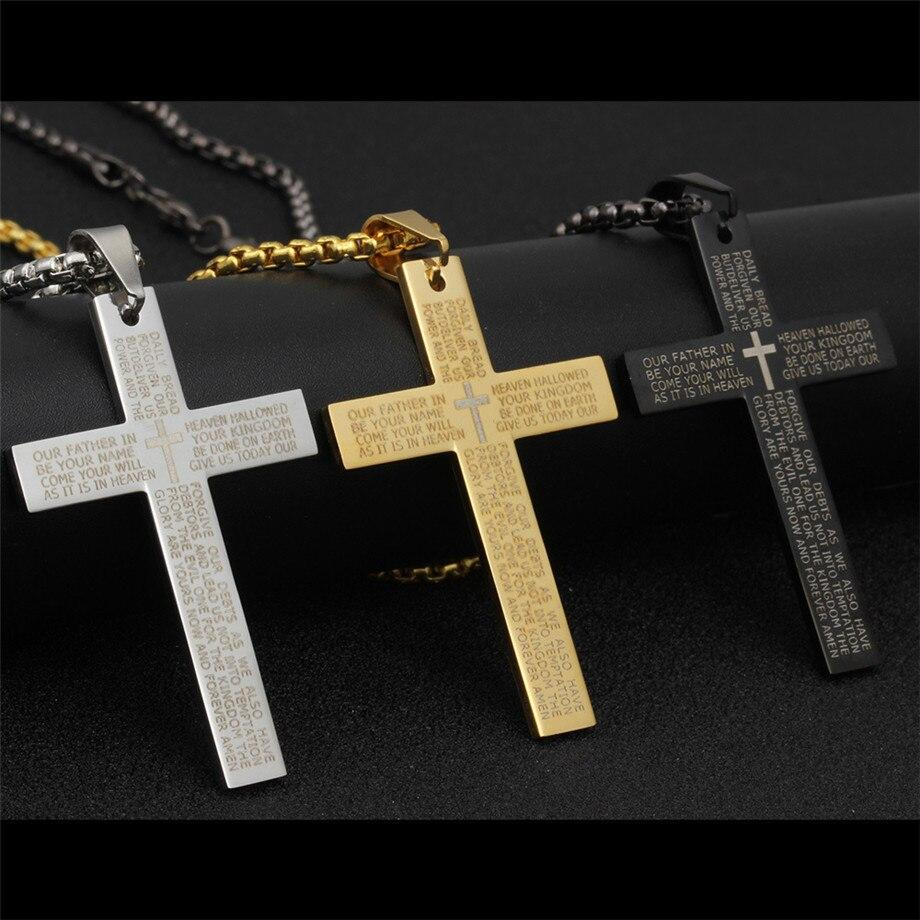 Cross Necklace Pendant With Stainless Steel Chain Black/Gold/Silver -  SEA OF GALILEE CHRISTIAN SHOP