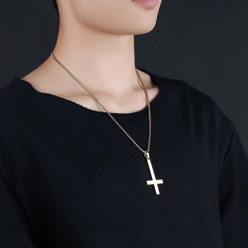 Stainless Steel Inverted Cross - Pendant Necklace -  SEA OF GALILEE CHRISTIAN SHOP