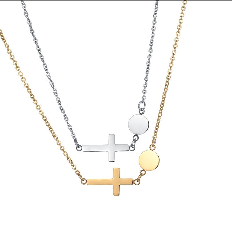 Necklace with stainless steel cross pendant -  SEA OF GALILEE CHRISTIAN SHOP