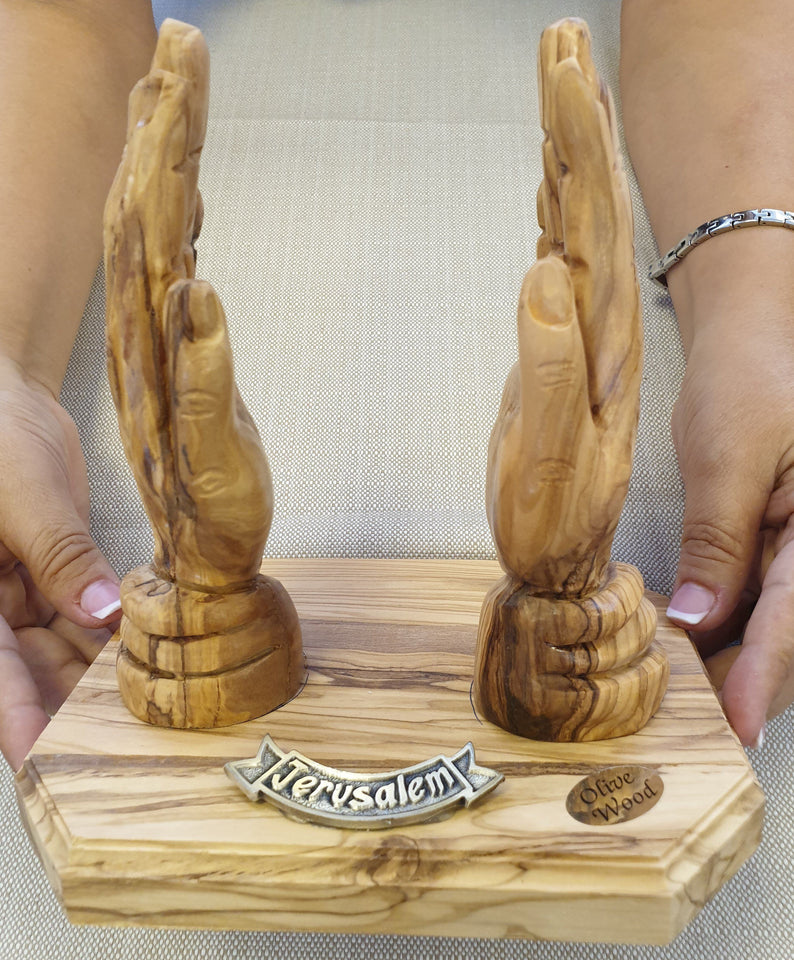HANDS STAND FOR BIBLE made from olive tree -  SEA OF GALILEE CHRISTIAN SHOP