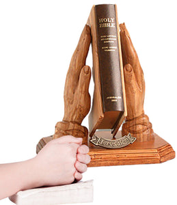 HANDS STAND WITH BIBLE made from olive wood -  SEA OF GALILEE CHRISTIAN SHOP