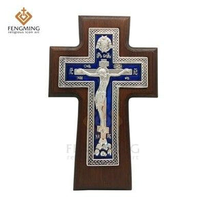 High quality orthodox Cross oak Wood Christian Metal Crucifix on the table religious icon baptism gift -  SEA OF GALILEE CHRISTIAN SHOP
