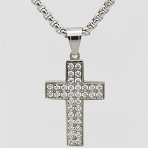 Hip Hop Female Cross Pendants Gold Silver Color Stainless Steel Micro Pave With CZ Jesus Cross Necklace Jewelry for Men/Women -  SEA OF GALILEE CHRISTIAN SHOP