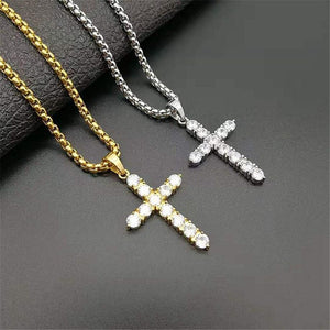 Cross Pendant Necklace  - Iced Out Zircon -  SEA OF GALILEE CHRISTIAN SHOP