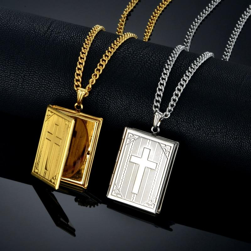 Jesus Cross Necklace Jewelry For Men Women Gold-Color Steel Chain Male Photo Locket Style Jesus Crucifix Pendant Necklace XL787 -  SEA OF GALILEE CHRISTIAN SHOP
